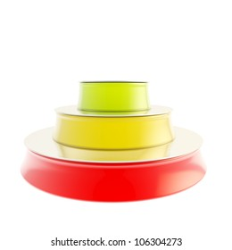 Three step plan as glossy red, yellow and green podium isolated on white