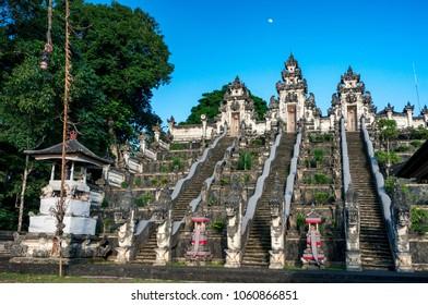 Three stone ladders in majestic Pura Lempuyang temple, Bali, Indonesia