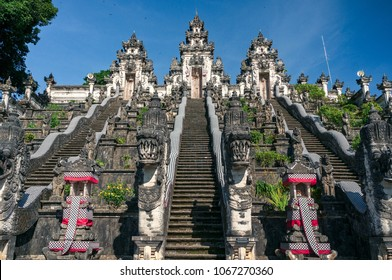 Three stone ladders in majestic Pura Lempuyang temple, Bali, Indonesia