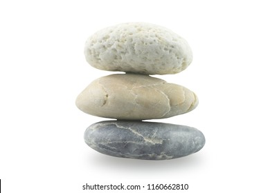 Three stone overlap on white background with clipping path for decorative design