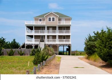 A three story beach house on the Atlantic Ocean in the USA.