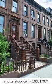 Three Story Tall Brownstone Homes Steps Urban Residential Neighborhood Brooklyn New York