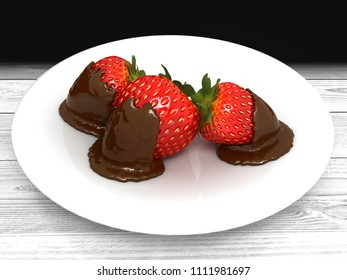 Three strawberries in chocolate on a white plate. 3D illustration.