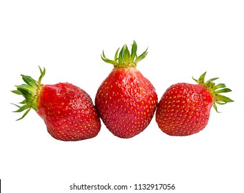Three strawberry without background for design