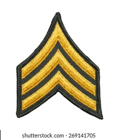 Three Striped Army Patch Isolated on White Background.
