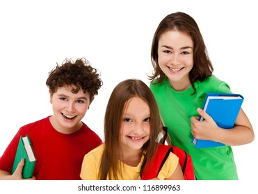 Three students isolated on white background