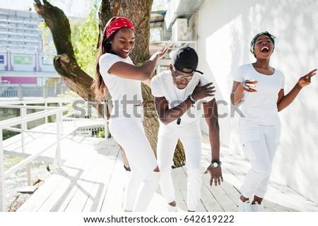 de63aacd73a Three Stylish African American Friends Wear Stock Photo (Edit Now ...