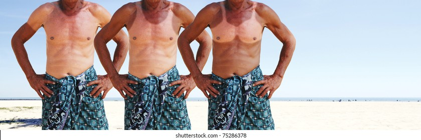 Three sunburned man with their preferred undergarment exposed by their sun tan imprint on their body at a clear sunny beach.