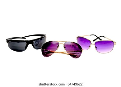 Three sunglasses on a white background