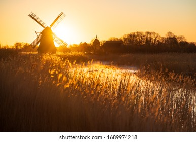 Three Swans at a traditional, Dutch windmill during a spring sunrise.