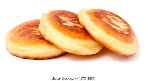 three sweet pancakes isolated on white background