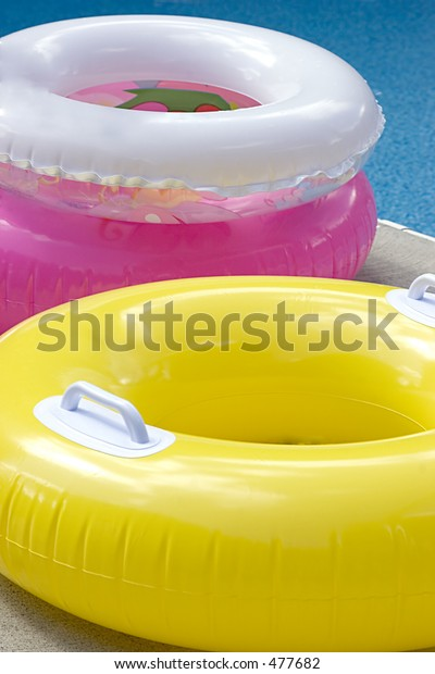 Three Swimming Pool Inner Tubes Yellow Stock Photo (Edit Now ...