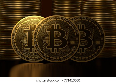 Three symbolic golden bitcoin coins standing on glossy background against stacks of coins. 3D rendering illustration