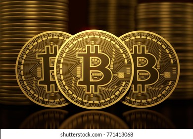 Three symbolic golden bitcoin tokens standing on glossy background against stacks of coins. 3D rendering illustration