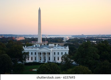 Three symbols of Washington, DC - the White House, the Washington Monument and the Jefferson Memorial