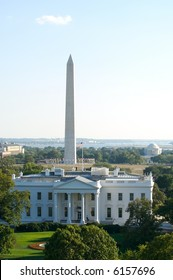 Three symbols of Washington, DC - the White House, the Washington Monument and the Jefferson Memorial in horizontal picture