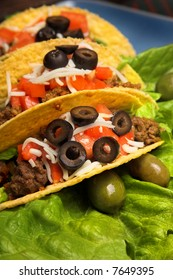 three tacos, focus on first taco