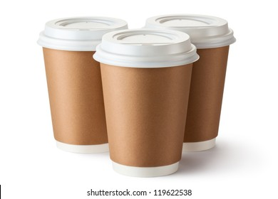 Three take-out coffee in cardboard thermo cup. Isolated on a white.