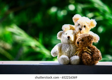 Three teddy bear in love, Love and relationship concept, friend concept