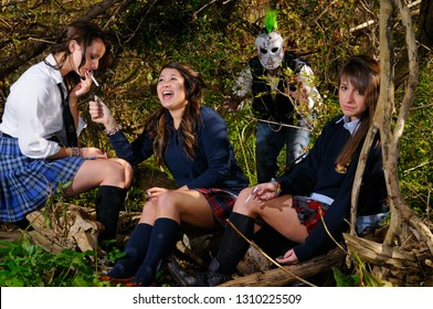 Three teenage private school girls in a forest to smoke cigarettes attacked by a masked man