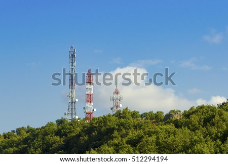 Three Telecommunication GSM Towers TV Antennas Stock Photo (Edit Now