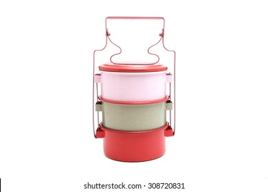 Three tier colored food container isolated on white
