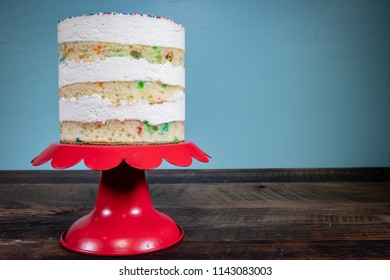 Three Tiered Naked Funfetti Cake On Cake Stand with Copy Space to right