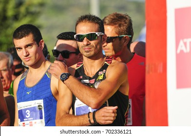 three times winner of classic marathon Christoforos Merousis and Kyriakos Symiriotis at the start of the 4th half marathon in Chios/Greece