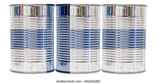 Three tin cans with the flag of Finland on them isolated on a white background.