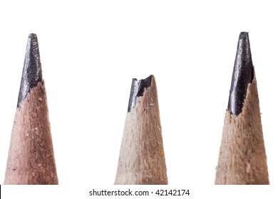 Three Tips, one broken of a pencil.