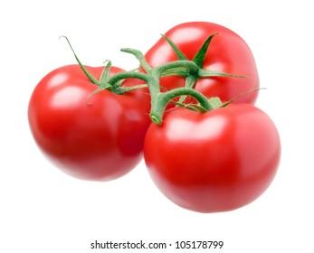 Three tomatoes isolated on white background.