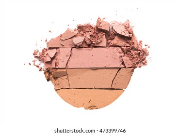 Three tone Pink color makeup powder cracked on background