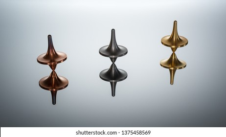 Three totem spinning tops spinning, wobbling and stopping. Inception's spinning top. Gradient background.