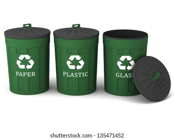 Three  trash cans (garbage bins) with recycle mark on a white background.