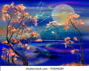 Three trees near the sea at full moon night