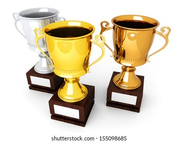Three trophies with a blank plate for custom text. 3D rendered Illustration.
