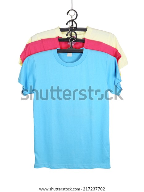 three t-shirt template on hange isolated on white background (with clipping path)