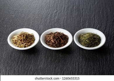 Three type of dried tea leaves (Kaga-bocha, hoiji tea, green tea)