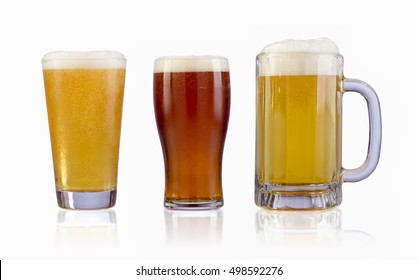 Three types of beers. Isolated with clipping PATH