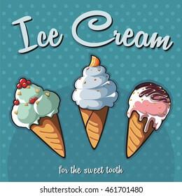 Three types of ice-cream