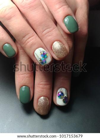 Three Types Nail Design On One Stock Photo Edit Now 1017153679