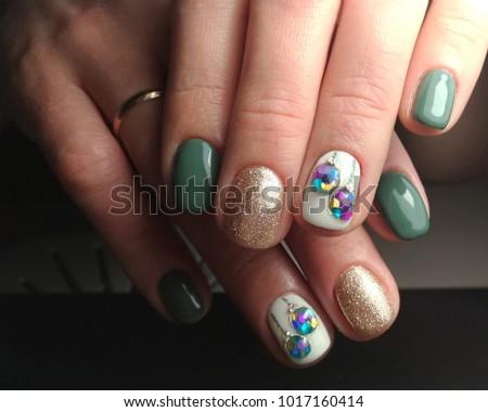 Three Types Nail Design On One Stock Photo Edit Now 1017160414