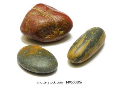 three types pebble isolated on white background