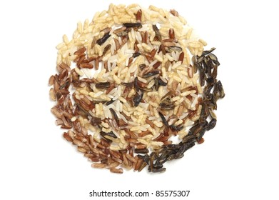 Three types of rice in a circle filled with wild rice.
