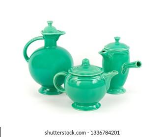Three Unique Pieces of Original Green Glaze Vintage Antique Fiesta Pottery, Tea pot, Demitasse Coffee Carafe and Water Pitcher