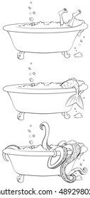 Three versions of the same claw-footed bathtub.  One with the occupants calves and feet visible, one with a mermaid tail, and one with tentacles.