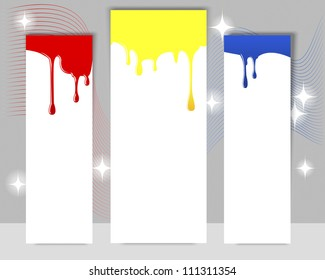 Three vertical banners with dripping paint on a gray background. Raster version.