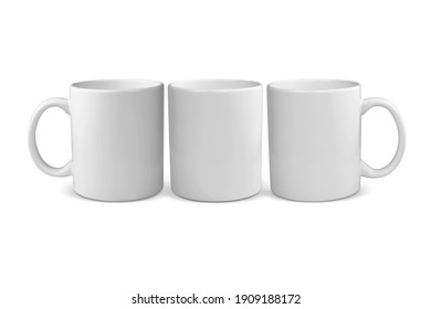 Three views of an 11 ounce coffee mug with a clipping path.