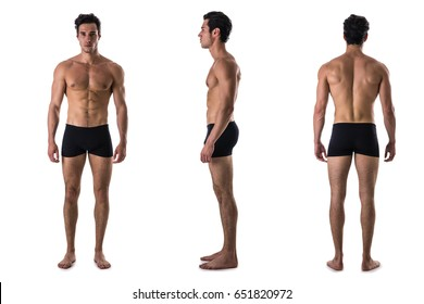 Three views of muscular shirtless male bodybuilder: back, front and profile shot, isolated on white background