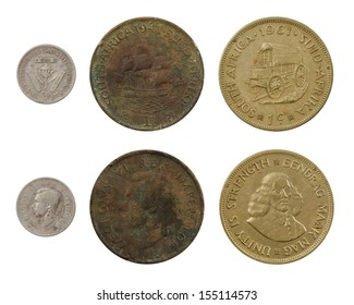 Three vintage South African coins: 3 pence of 1940, 1 penny of 1941, 1 cent of 1961, isolated on white background.